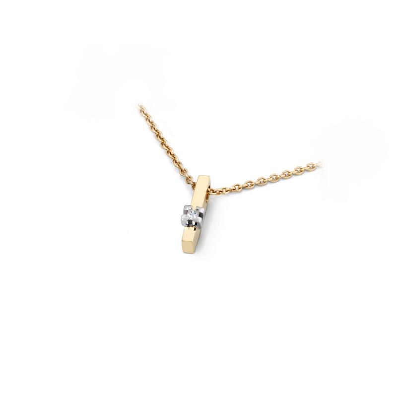 Gouden hanger met briljant 0,04 crt. - 56772
